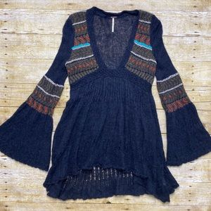 Free people knit dress with bell sleeves